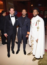 NEW YORK, NY - MAY 07: Bradley Cooper, Michael B. Jordan, and Chadwick Boseman attend the Heavenly Bodies: Fashion & The Catholic Imagination Costume Institute Gala at The Metropolitan Museum of Art on May 7, 2018 in New York City. (Photo by Dimitrios Kambouris/MG18/Getty Images for The Met Museum/Vogue)